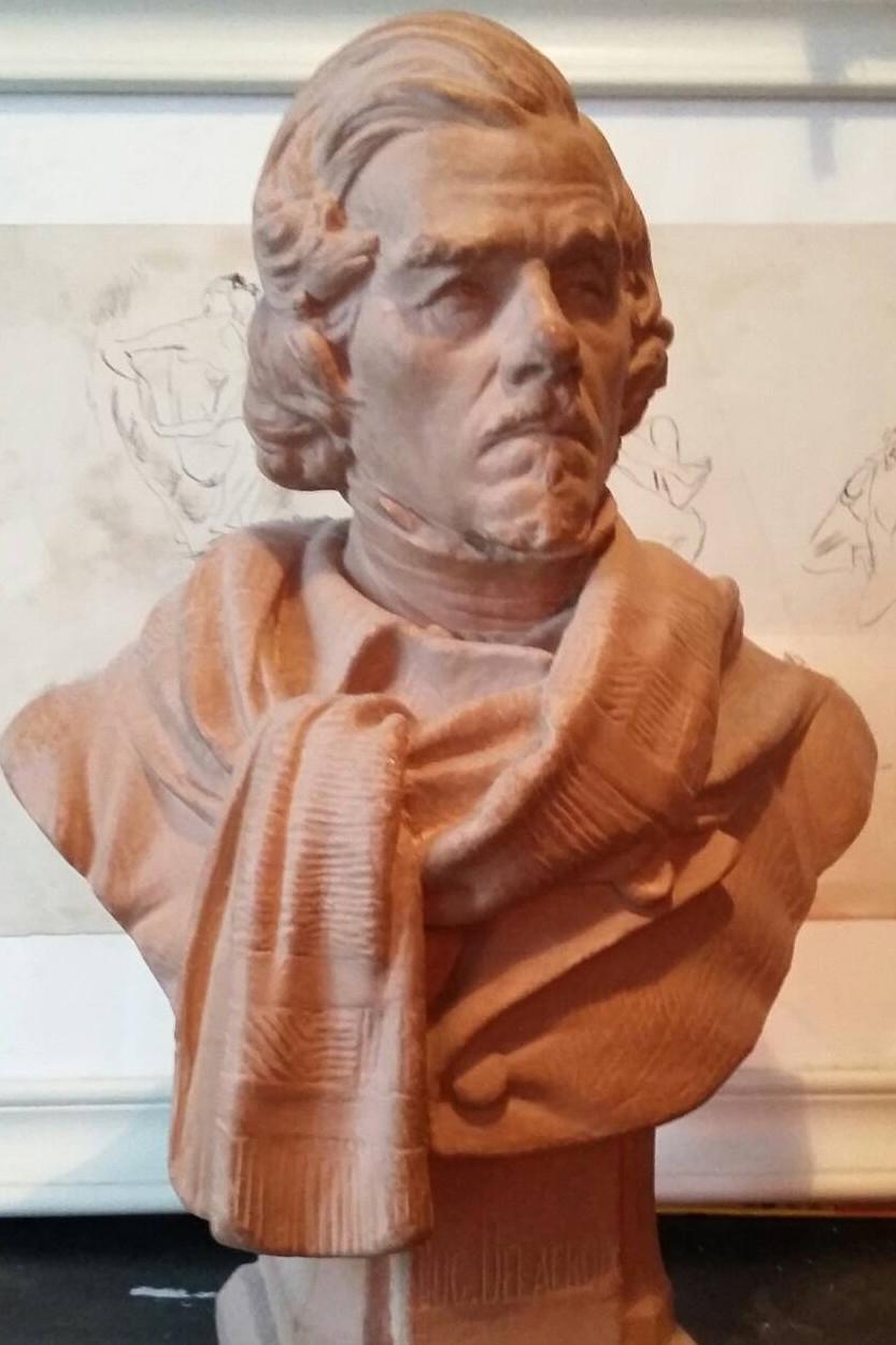 Buste d'après Delacroix. Terre.