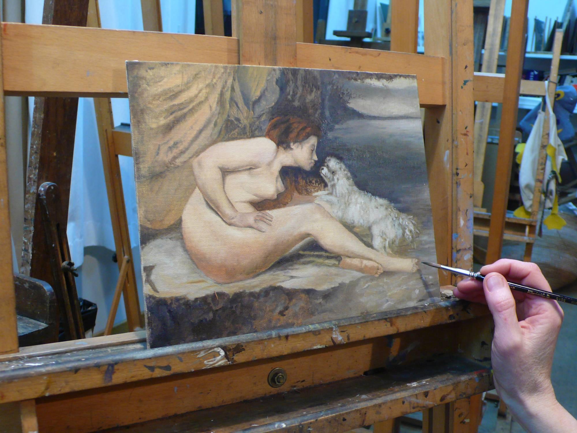 Peinture à l'huile d'après Gustave Courbet.