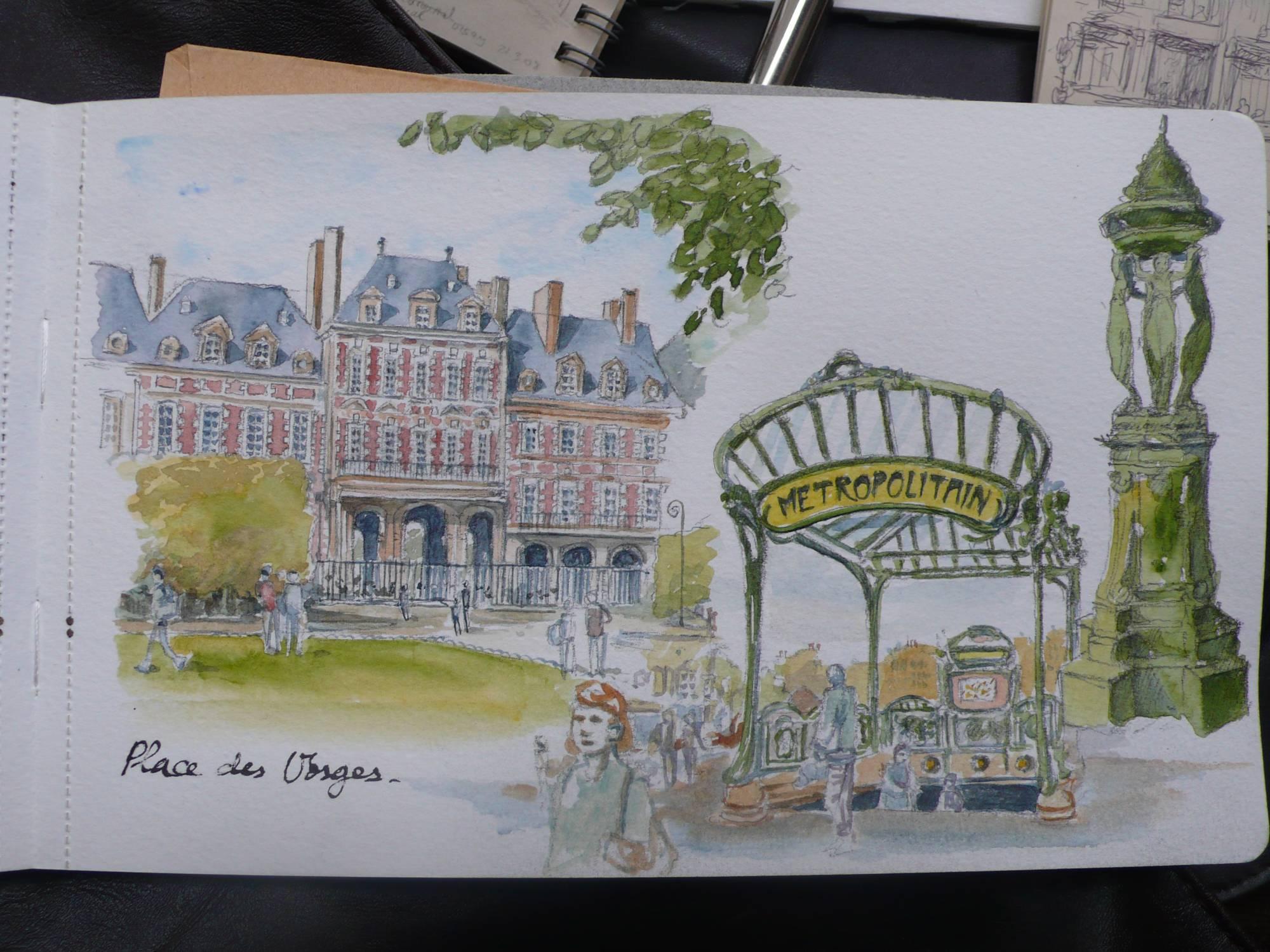 Croquis aquarellés sur le vif à Paris